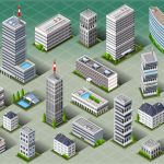 Detailed illustration of a Isometric European Buildings This illustration is saved in EPS10 with color space in RGB.